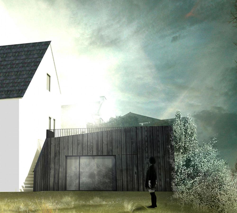 ETEL / M-LMC, réhabilitation d'un appentis en chambre + terrasse